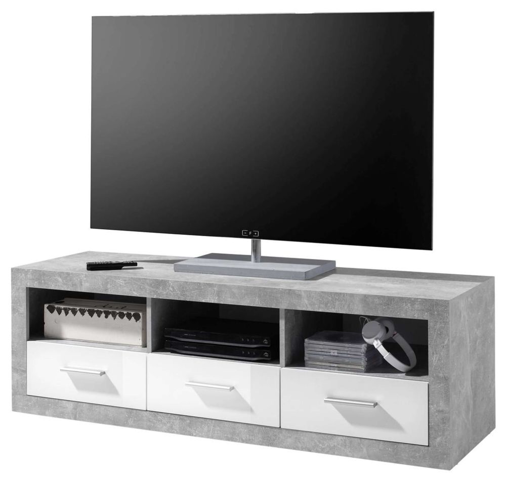 Pietra Large TV Cabinet Grey and White Gloss - 2700